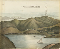 Ootacamund.  Hilly landscape showing Dodabetta peak; lake and sailing boat in the foreground